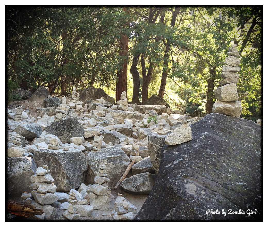 Little stone cairns dotted around the trail at Mirror Lake in Yosemite. Historically used to make trail heads, resources or burial sites, these ones don't seem to hold any purpose. Some say these are an eyesore, a type of graffiti, others see them as temporary art work.