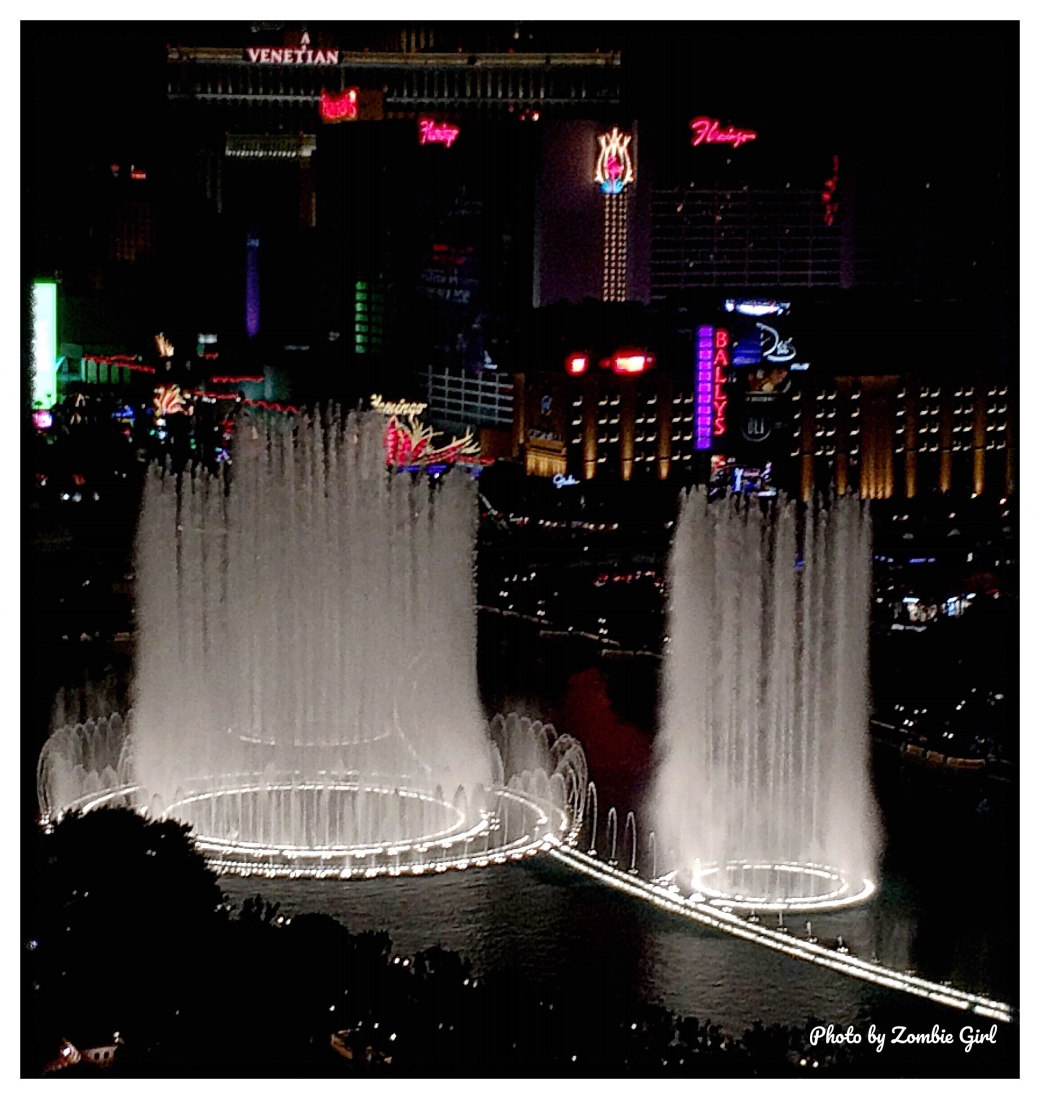 Bellagio Fountains mid performance in Vegas