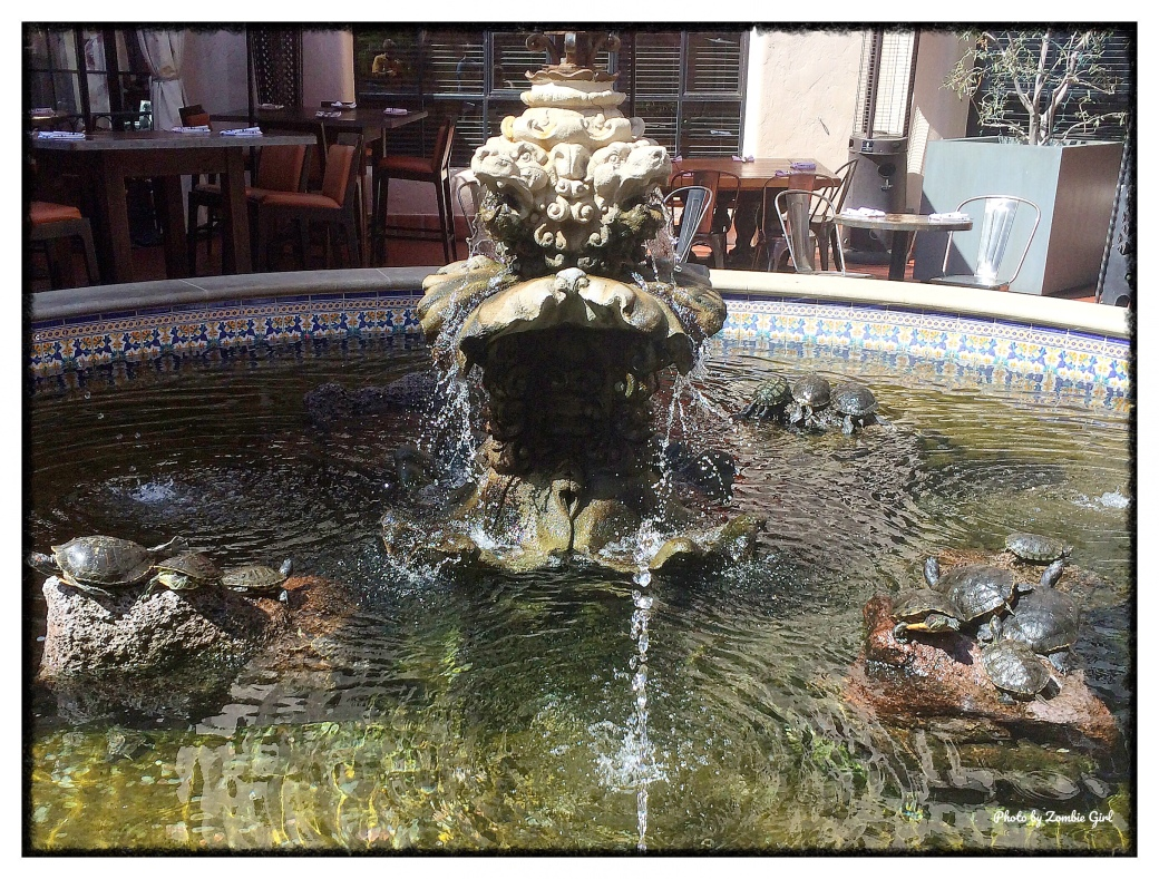 The fountain in La Arcada Courtyard