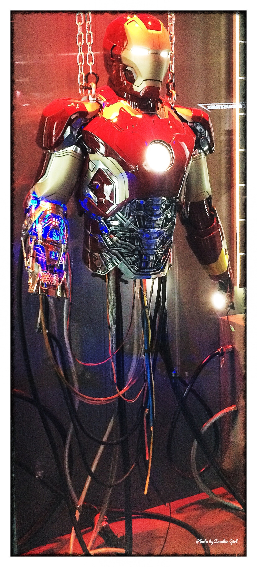 Iron Man's suit, as used on the film sets.