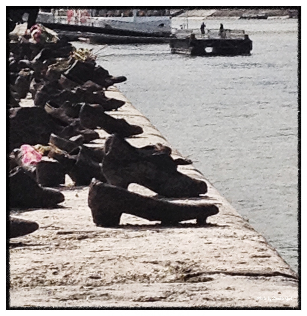 Shoes on the river Danube